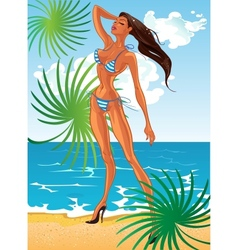 Tan sexy lady in swimsuit at sunny beach vector
