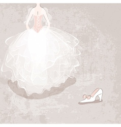 Sketch bride in wedding dress on grungy background vector