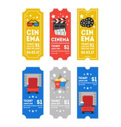 Cartoon cinema tickets small vertical set vector