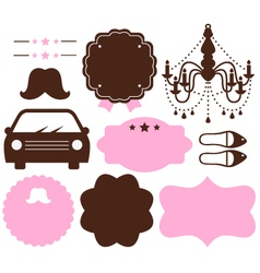 Set of vintage design elements isolated on white vector image