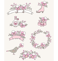 Floral doodle design elements with pink orchids vector