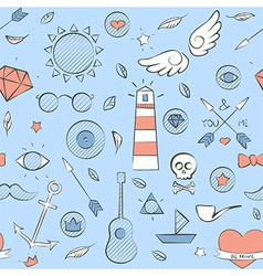 Sea doodle seamless hipster pattern over light vector