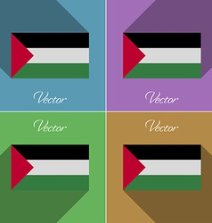 Flags palestine set of colors flat design and long vector