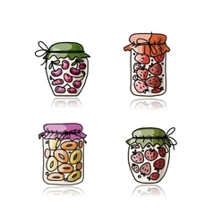 Jar with jam sketch for your design vector