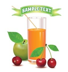 Glass for juice from ripe cherries and green apple vector