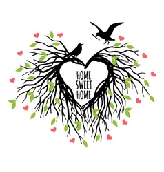 Heart shaped bird nest vector
