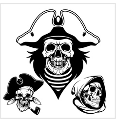 Pirate with pirate hat and pipe vector