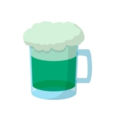 Beer mug of green beer with a foamy head icon vector image