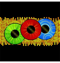 Vinyl picture discs over mosaic background vector image