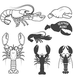 Set of the lobsters in vector