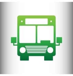 Bus sign green gradient icon vector
