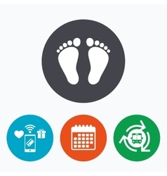 Child pair of footprint sign icon barefoot vector