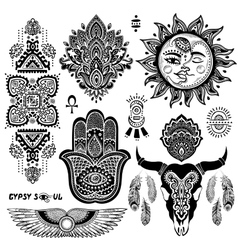 Bohemian style flash tattoo symbols vector