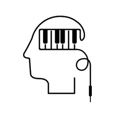 Black silhouette head with piano keys vector