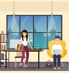 business man and woman in office space the vector image vector image