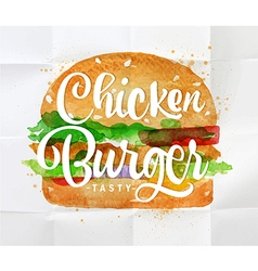 Chiken burger watercolor vector image