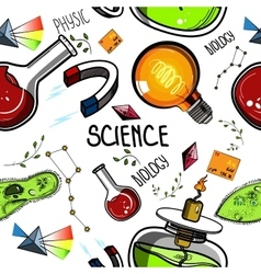 Colored hand drawn science pattern vector