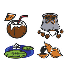 Different food and water lily vector