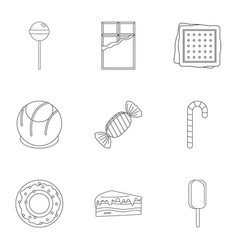 Different sweet icon set outline style vector