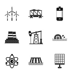 Electricity industry icon set simple style vector