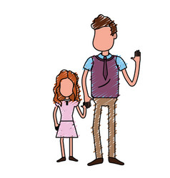 Father with his daughter together and holding vector
