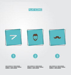 Flat icons hairstyle blade whiskers and other vector
