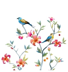 Floral composition with birds vector image vector image