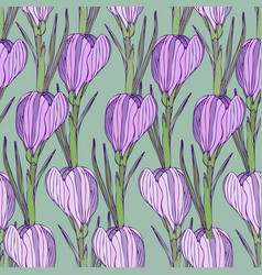 Floral pattern with purple flowers seamless print vector