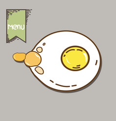 Fried egg with yellow yolk vector