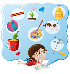 Girl thinking of favorite things vector