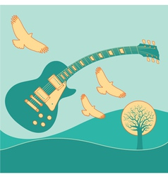 Guitar Fly landscape2 vector image vector image