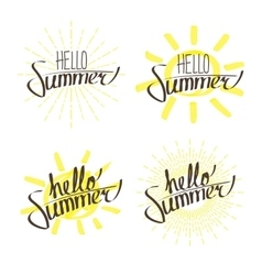 Hello Summer Letterings Set vector image vector image