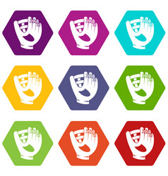 leather baseball glove icon set color hexahedron vector image vector image