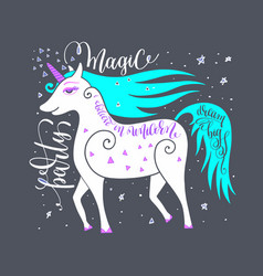magic party poster with unicorn and hand letterin vector image