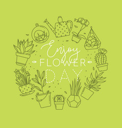 Monogram pots with plants enjoy flower light green vector