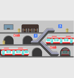 Multi-level subway station vector