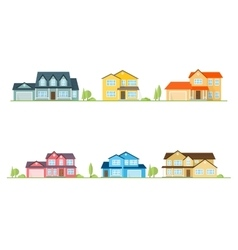Neighborhood with homes on white vector