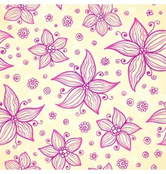 Ornate doodle flowers background vector image vector image