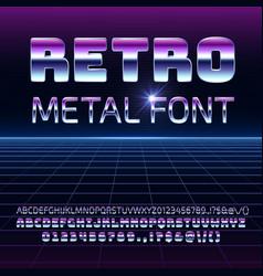 retro space metal font metallica vector image