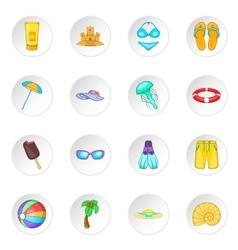Sea tour icons set vector