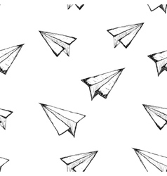 Seamless pattern with a paper airplane vector image vector image