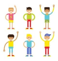 Set of cheerful children boys vector