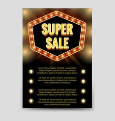 shining super sale brochure flyer template vector image