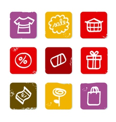 shopping doodle retro icons vector image vector image