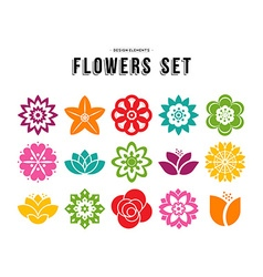 Spring flower icon set with colorful flat designs vector