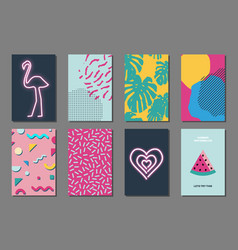 Summer journaling cards vector