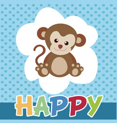 The monkeys happy and cute smile vector