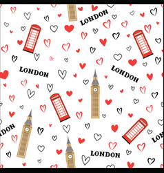 Travel seamless pattern london vacation wallpaper vector