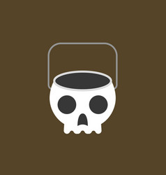 Trick or treat skull bowl flat icon vector