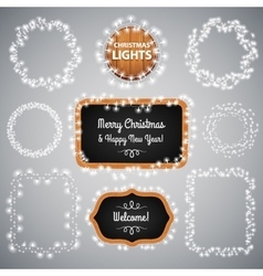 White Christmas Lights on Blackboard vector image vector image